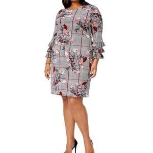 Alfani Plaid Floral Tiered Ruffle Sleeve Dress